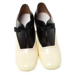 Celine Cream/Black Patent Leather V Neck Buckle Strap Booties Size 39