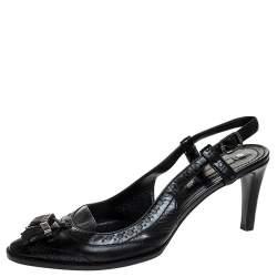 Celine Black Brogue Leather Tassel Slingback Sandals Size 40