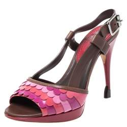 Celine Multicolor Patent and Leather Scalloped Slingback Sandals Size 36