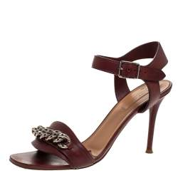 Celine Burgundy Leather Chain Detail Ankle Strap Sandals Size 38.5