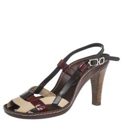 Celine Multicolor Patent And Leather Strappy Slingback Sandals Size 38