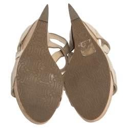 Céline Beige Leather T-Strap Wedge Platform Slingback Sandals Size 37.5