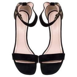 Celine Black Suede Iconic Ankle Strap Sandals Size 39