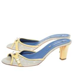 Celine Off-White/Yellow Macadam Canvas And Patent Trim Slide Sandals Size 39.5