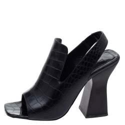 Celine Black Croc Embossed Leather Slingback Open Toe Sandals Size 38