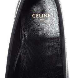 Celine Black Leather Penny Slip On Loafers Size 38.5