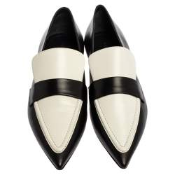 Celine Monochrome Leather Pointed Toe Slip On Loafers Size 36