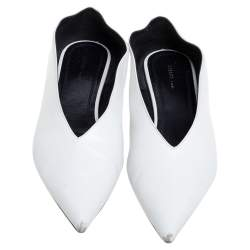 Celine White Leather V-Neck Ballet Flats Size 37