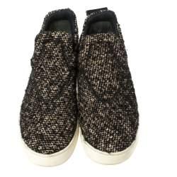 Céline Brown Tweed Platform Slip-On Sneakers Size 38