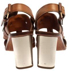 Celine Brown Leather Buckle Detail Square Toe Slingback Sandals Size 37