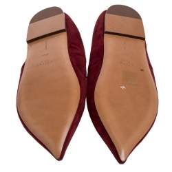 Celine Burgundy Suede V Neck Tie Up Flats Size 37.5
