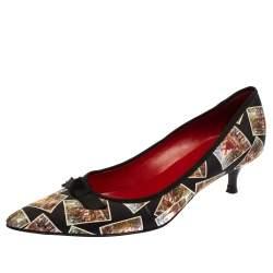 Celine Black Satin Postcard Print Kitten Heel Pumps Size 37.5