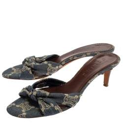 Celine Denim Fabric Knot Open Toe Slide Sandals Size 37.5