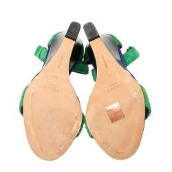Cèline Gree/Blue Suede Ankle Strap Wedge Sandals Size 40