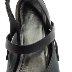 Celine Grey/Black Pointed Toe Slingback Flat Sandals Size 38