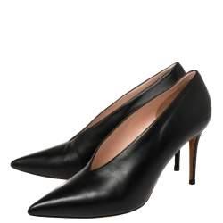 Celine Black Leather V Neck Pointed Toe Pumps Size 39