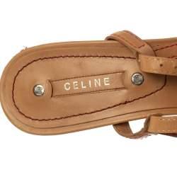 Celine Beige Leather Open Toe Slingback Sandals Size 38