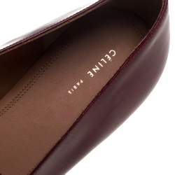 Celine Burgundy Leather Pointed Toe Masculina Fringe Flats Size 36