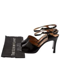 Celine Vintage Black Leather Open Toe Ankle Strap Sandals Size 39