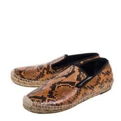 Celine Two Tone Python Leather Flat Espadrilles Size 37