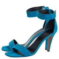 Celine teal Blue Suede Ankle-Strap Sandals Size 38