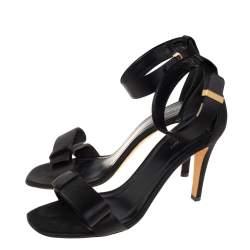 Celine Black Satin Bow Embellished Ankle Strap Sandals Size 37