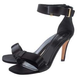 Celine Black Satin Ankle Strap Sandals Size 38.5
