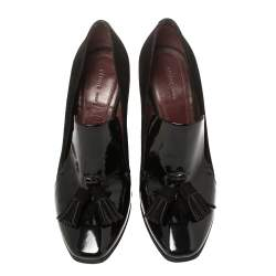 Celine Black Suede And Patent Leather Tassel Loafer Pumps Size 36
