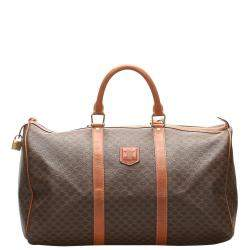 Celine Brown Macadam Canvas Travel Bag