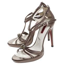 Cesare Paciotti Brown Leather Embellished Strappy Sandals Sandals Size 36