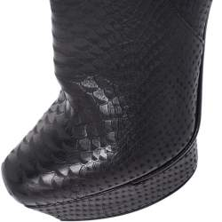Cesare Paciotti Black Python Embossed Leather Over The Knee Boots Size 39