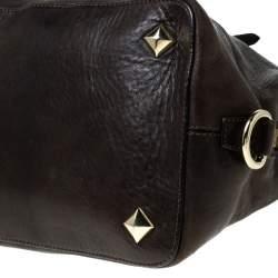 حقيبة تشيزاري باشوتي بطراز مقبب جلد بني داكن
