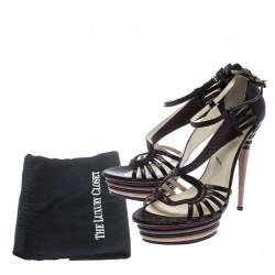 Cesare Paciotti Dark Brown Strappy Python Double Stacked Platform Sandals Size 38.5