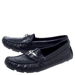 Cesare Paciotti Black Croc Embossed Leather Slip On Loafers Size 35