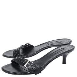 Cesare Paciotti Black Leather Crystal Embellished Buckle Detail Kitten Heel Mules Size 37