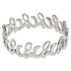 CH Carolina Herrera Logo Silver Tone Bangle Bracelet