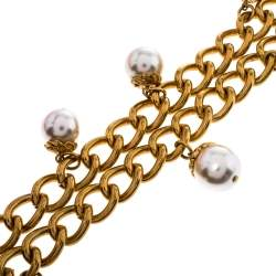 Carolina Herrera Faux Pearl Long Chain Link Necklace