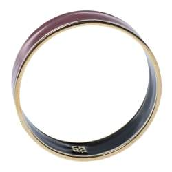 Carolina Herrera CH Red Enamel Gold Tone Wide Bangle Bracelet