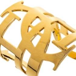 CH Carolina Herrera Initial Gold Tone Wide Open Cuff Bracelet