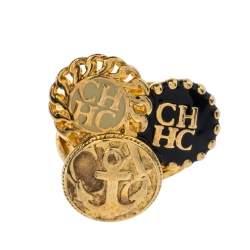 CH Carolina Herrera Enamel Gold Tone Ring Size 54.5