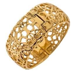 CH Carolina Herrera Gold Tone Filigree Bangle Bracelet