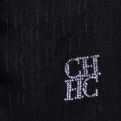CH Carolina Herrera Black Monogram Crystal Logo Detail Silk Stole