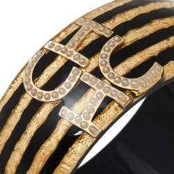CH Carolina Herrera Black/Gold Resin Gold Tone Wide Bangle Bracelet