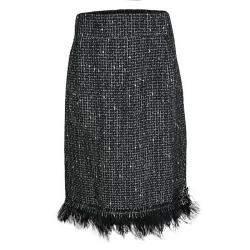 CH Carolina Herrera Monochrome Textured Fringed Ostrich Feather Trim Skirt XL