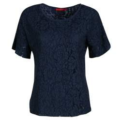 CH Carolina Herrera Navy Blue Floral Lace Overlay Short Sleeve Top S