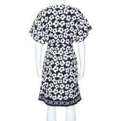 CH Carolina Herrera Navy Blue Floral Print Silk and Linen Blend Dress M