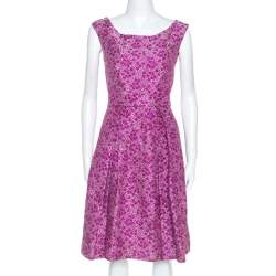CH Carolina Herrera Pink Floral Lurex Jacquard Flared Dress S