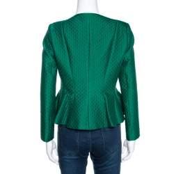 CH Carolina Herrera Green Embossed Jacquard Peplum Jacket S
