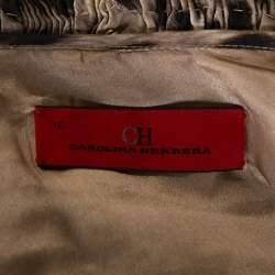 CH Carolina Herrera Beige Leopard Printed Silk Ruffle Detail Blouse L