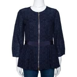 CH Carolina Herrera Navy Blue Floral Corded Lace Peplum Jacket S